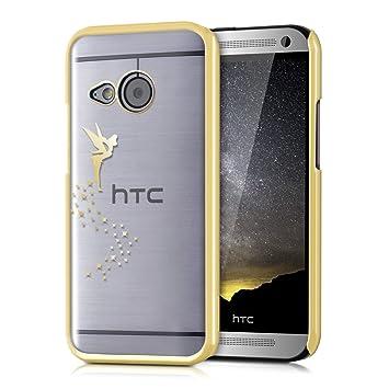 kwmobile Elegante y ligera funda Crystal Case Diseño hada para HTC One Mini 2 en oro transparente