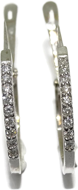 NEVER SAY NEVER Pendientes aros de diamantes de 0.18cts engastados en oro blanco de 18Ktes. cierre pala