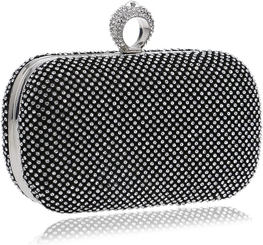 RABILTY Bling Shiny Rhinestone Crystal Clutch Purse Women Evening Bag for Bridesmaid Wedding Party Color : Black