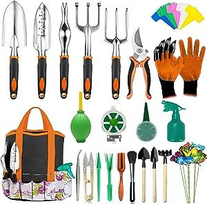 AOKIWO 83 Pcs Garden Tools Set Succulent Tools Set, Heavy Duty Aluminum Manual Garden Kit Outdoor Gardening Gifts Tools for Men Women (Orange)