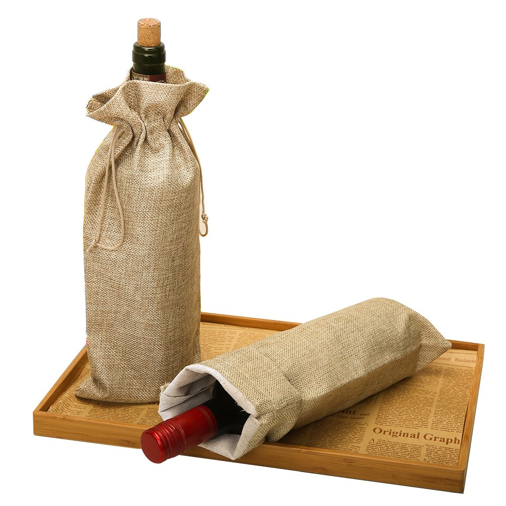HRX Package Burlap Wine Bags with Drawstring, 13.4'' x 5.9'' (Pack of 10)