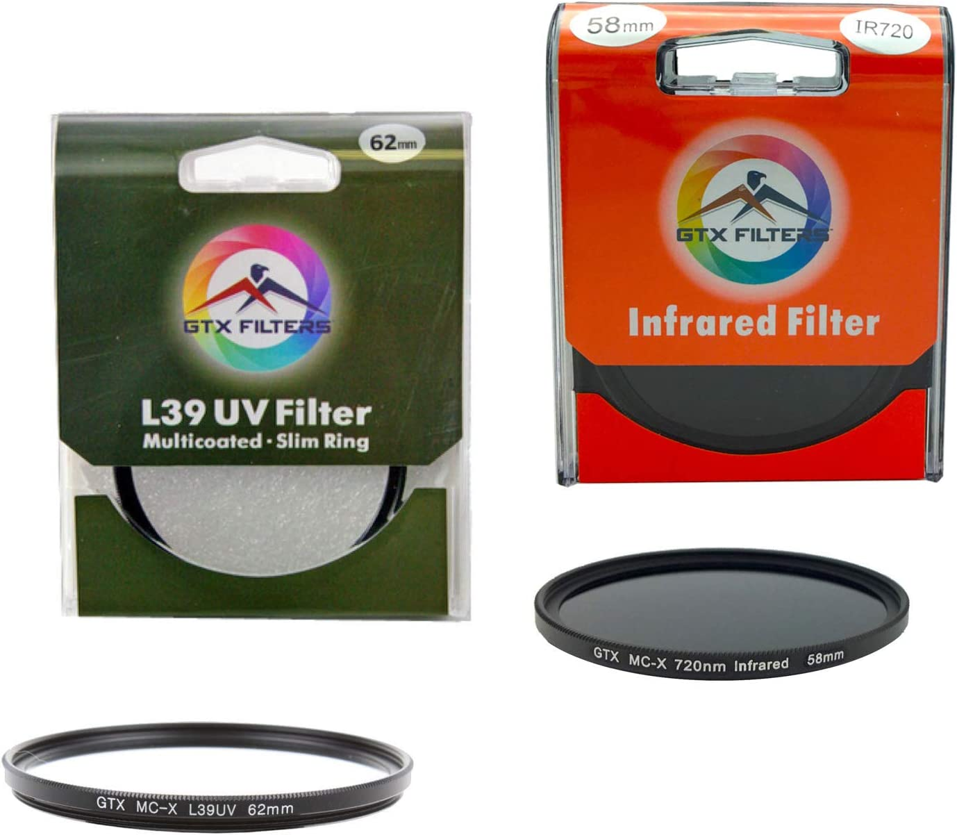 Lens Cap Sunset Foto 58mm Lens Filter and Accessory Kit Includes: Schott Glass Multicoated L39 UV and IR Infrared 720nm Lens Filter Set Lens Cleaner Kit