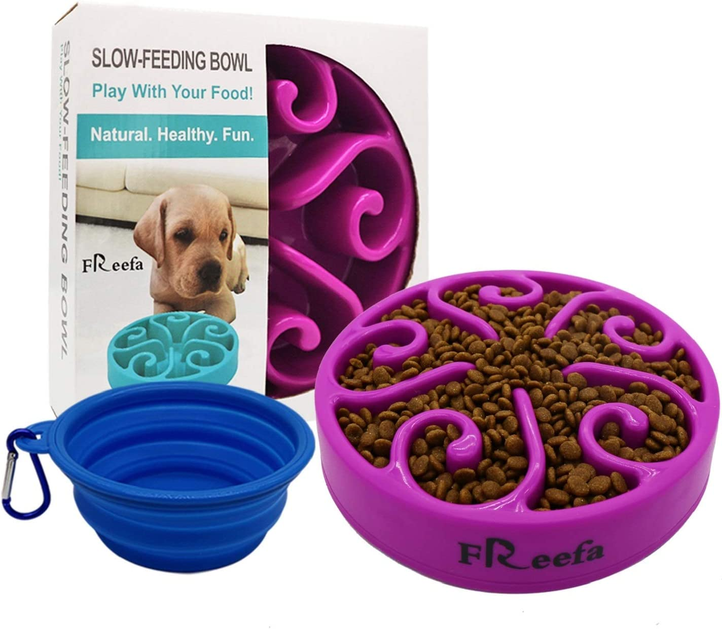 Freefa Slow Feeder Dog Bowl Bloat Stop Dog Food Bowl Maze Interactive Puzzle Non Skid, Come with Free Travel Bowl (Purple, for Small/Medium Dog)