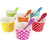 Rainbow Paper Polka Dot Ice Cream Cups 12 oz (qty 60) & Matching Plastic Spoons (qty 60) Set (by BrightandBold)