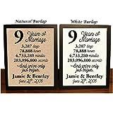 9 Year Anniversary Burlap Print | 9th Anniversary | 9th Anniversary Gift | 9 Years Together | 9th wedding Anniversary | 9th Anniversary gift for her | 9 Years of Marriage