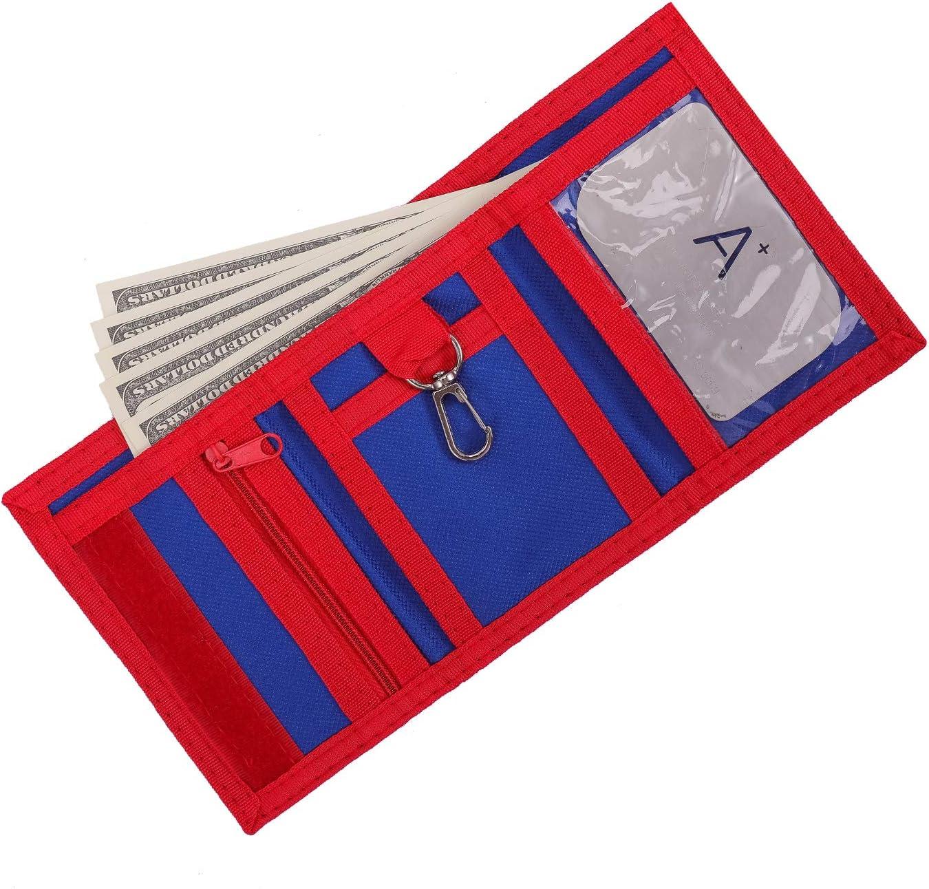 en Toile Portefeuille pour Enfants avec Blocage RFID 3 Volets pour Sports de Plein air Pochette zipp/ée