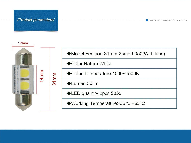 Blue NJYTouch 4Pcs 1.25 31mm 2-SMD 5050 DE3175 DE3021 DE3022 6428 7065 LED Festoon Car Interior Door Map Dome Lights DC 12V