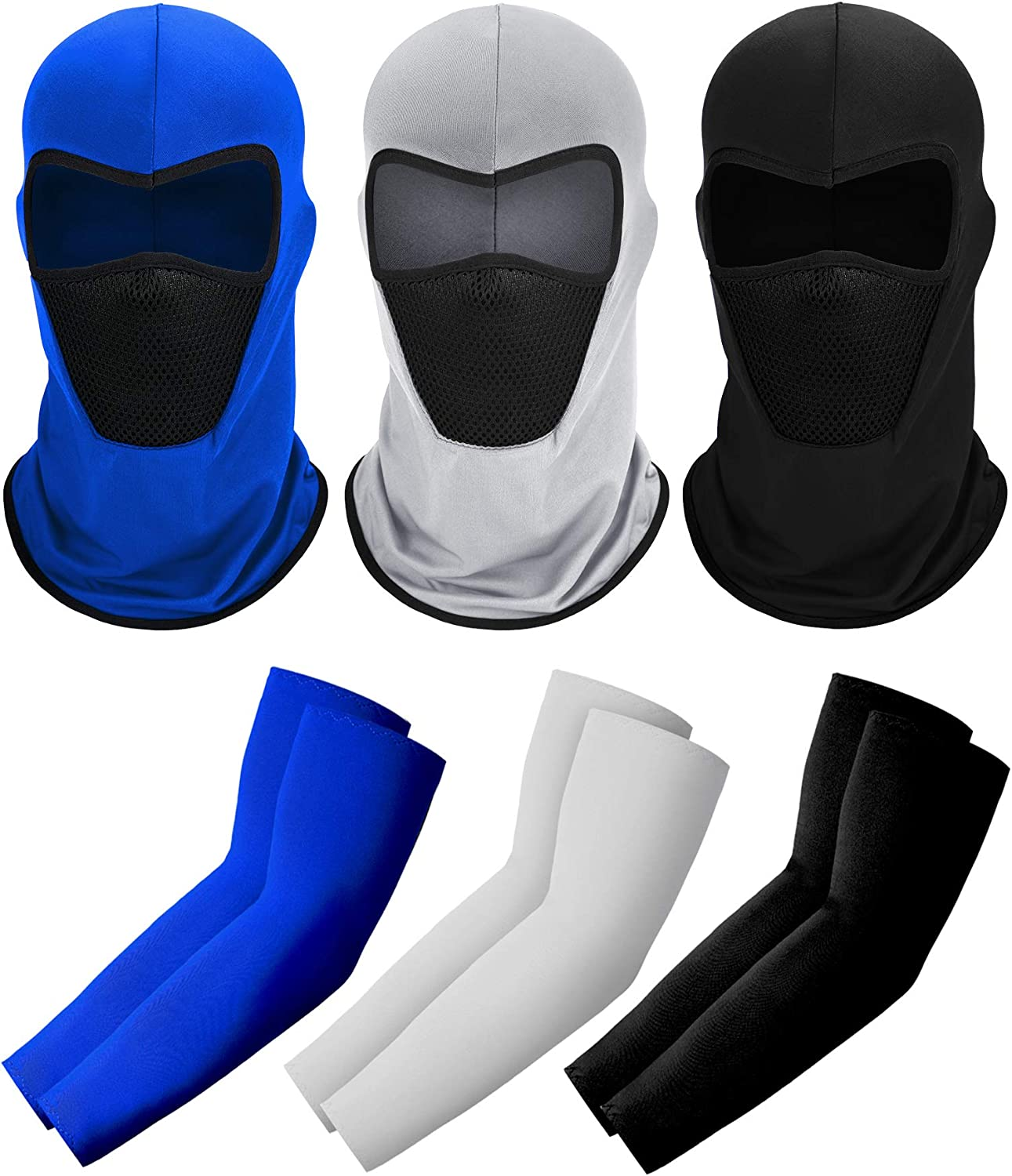 6 Pieces Summer Balaclava Full Face Cover and Cooling Arm Sleeves, UV Protection Breathable Neck Gaiter Head Wraps Ice Silk Arm Cover Set for Women Men