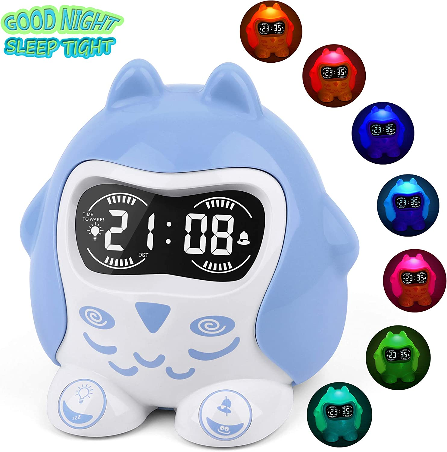 White Noise Machine, Sleep Soother Sound Therapy with 9 Sounds Lullaby, 7-Color Night Light, Plug In Battery Powered, Sleep Training Time to Wake Digital Alarm Clock for Kids Baby Girls Boys Bedroom