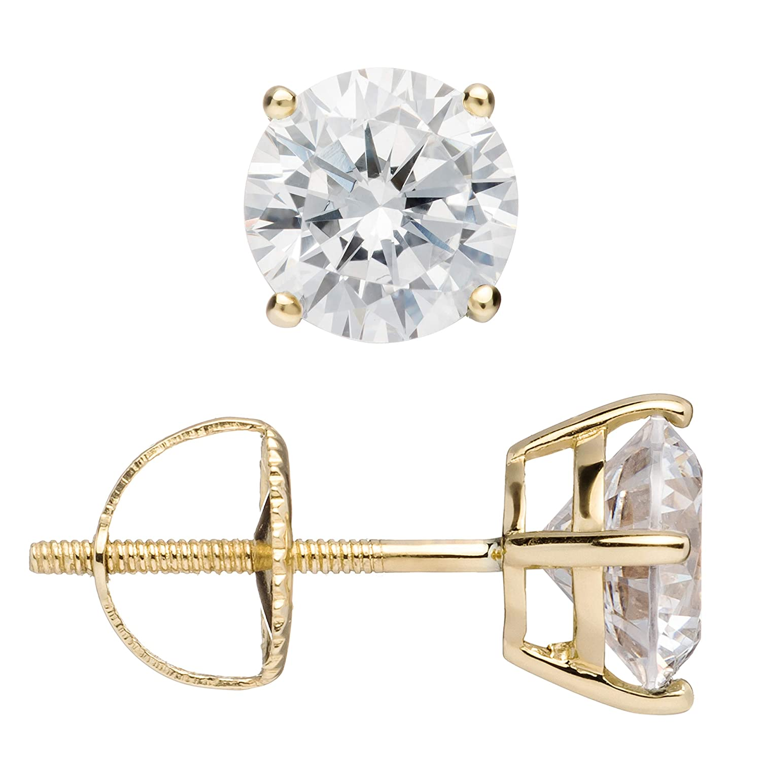 14K Solid Yellow Gold Stud Earrings | Round Cut Cubic Zirconia | Screw Back Posts | .50 to 4.0 CTW | With Gift Box Everyday Elegance YRABC E022/10
