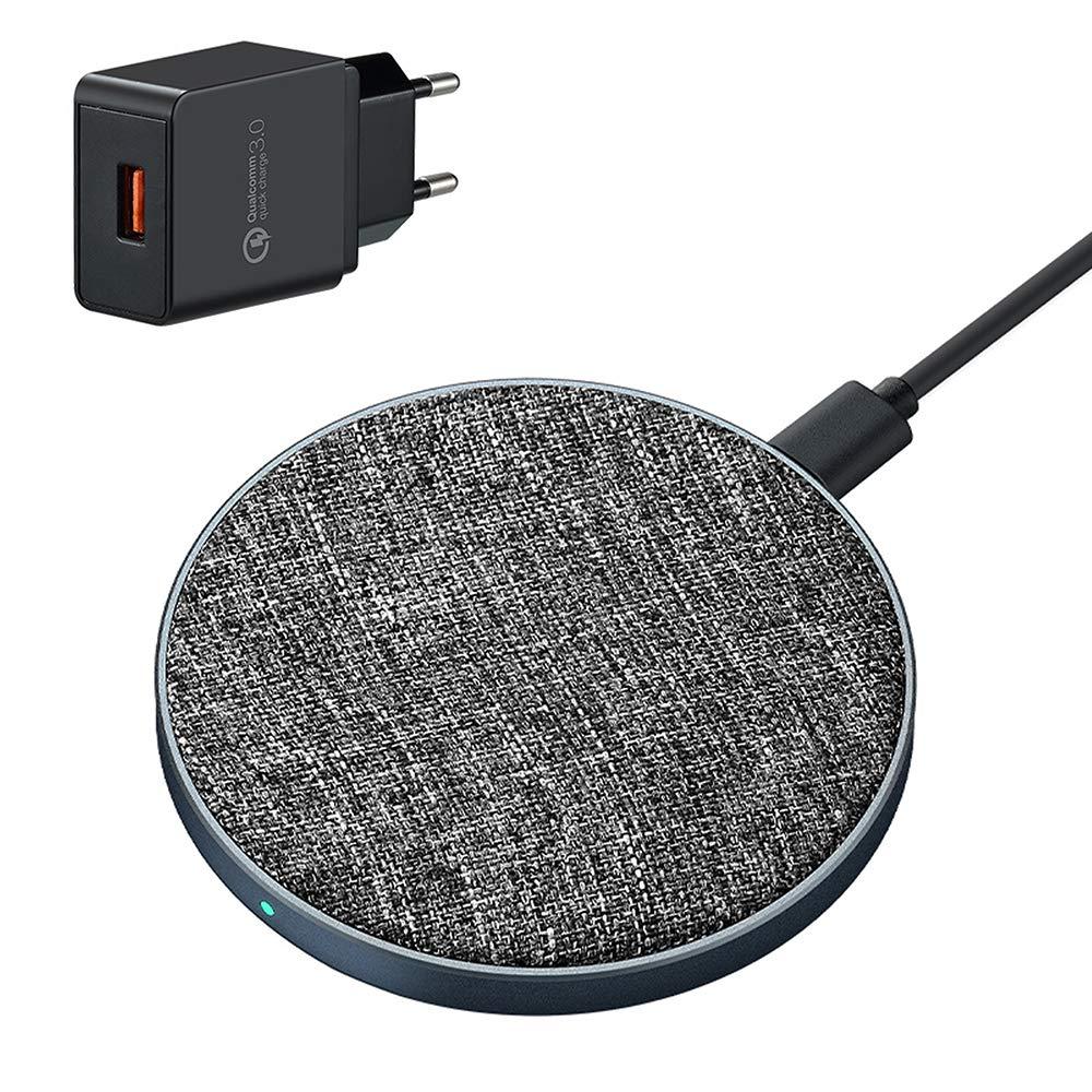 Qi  Drahtloses Ladegerät,Ausma 10w/7.5w fast wireless charger mit QC 3.0 Adapter Type-c usb Aluminiumlegierung+Tuch für iPhone X iPhone 8/8 Plus Samsung S6/S6 Edge alle Qi-fühigen Geräte