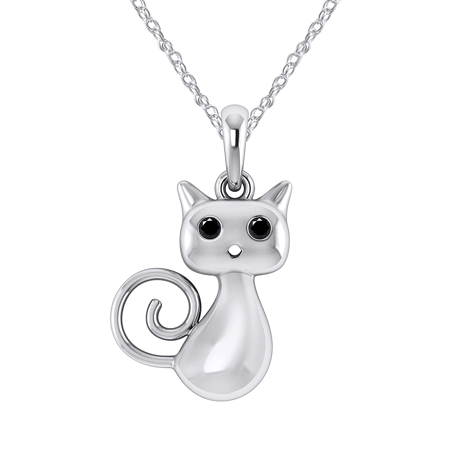 Pretty Jewels 0.05 Ct Black Real Diamond in 14K White Gold Fn 925 Sterling Silver Curly-Tail Kitty Pendant Necklace