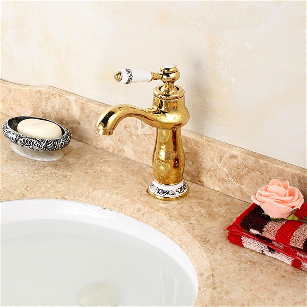 Gyps Faucet Basin Mixer Tap Waterfall Faucet Antique Bathroom Mixer Bar Mixer Shower Set Tap antique bathroom faucet Cold water faucet gold stay jade basin antique faucet home single on-the-water fauc