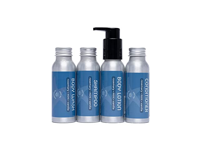 Travel Size Shampoo, Conditioner, Body Wash and Body Lotion - Rosemary, Mint, Vanilla - Sulfate Free, Refillable Bottle, 2.5 oz