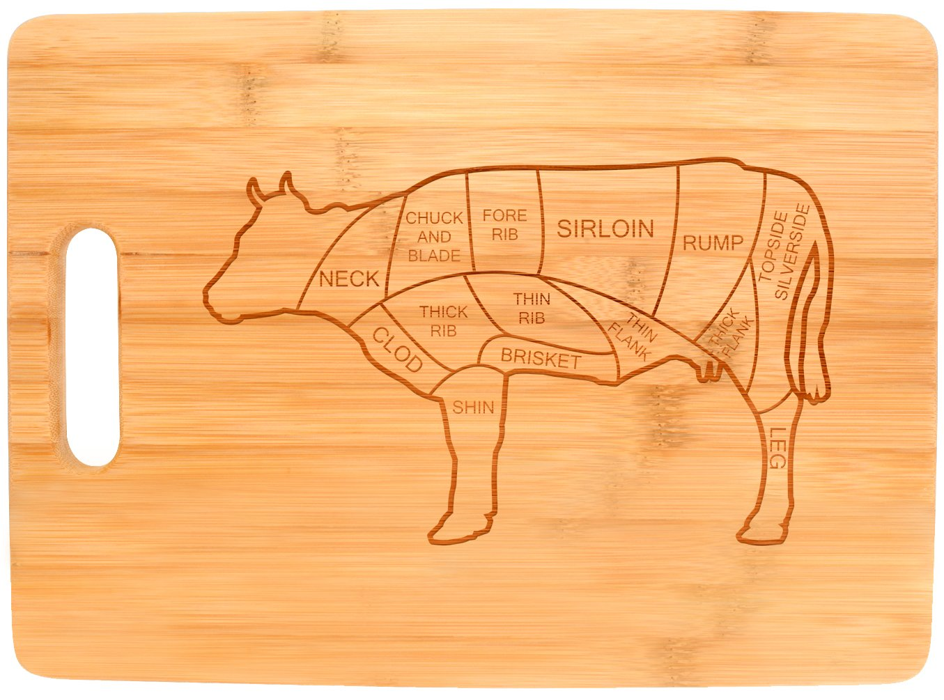 Beef Butcher Cuts Cow Kitchen Décor Barbecue BBQ Burgers Big Rectangle Bamboo Cutting Board Bamboo