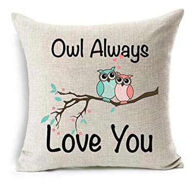 Owl Always Love You Cotton Linen Throw pillow cover Cushion Case Holiday Decorative 18 X18  inch (1)