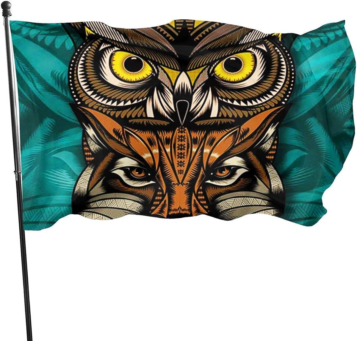 Pop Cat Owl Wolf Maya Art Home Garden Flag Yard Outdoor Indoor Decorative Banner with Brass Grommets Flag 3x5 Ft