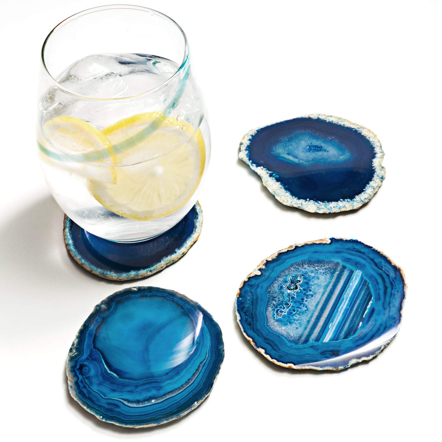 Amethya Natural Sliced Agate Coaster, Cup Mat for Drinks with Rubber Bumper, Set of 4