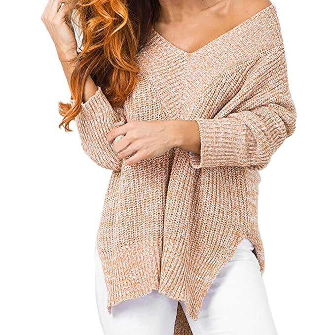 Damen Langarm Strickware Sweatshirt Sweater Strickpulli