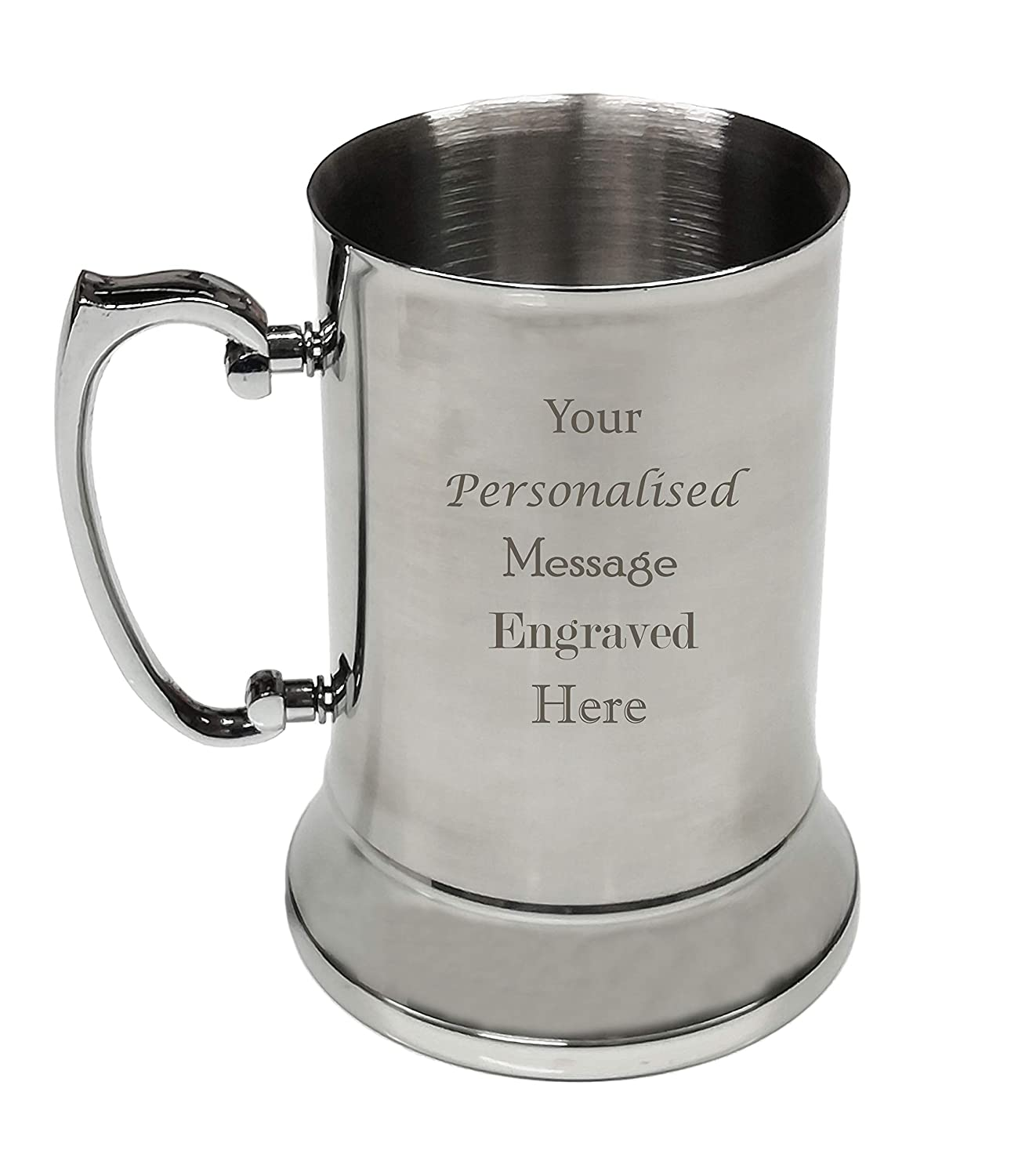 Personalised Engraved Stainless Steel Tankards Steins Beer Mugs Gifts for Men (Basic Text Design)