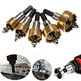 MOHOO 5PCS 16-30 mm HSS Tip Drill Hole Saw Set Stainless Steel Metal Alloy