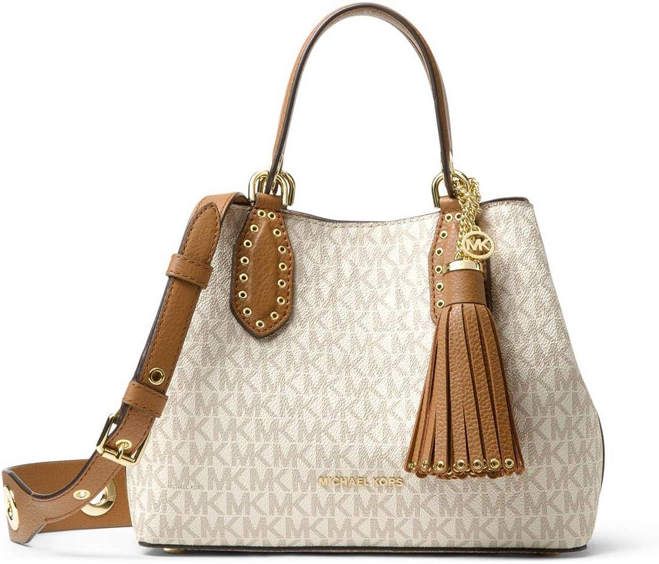 Michael Kors Brooklyn Small Logo Grab Bag Crossbody Satchel - Vanilla