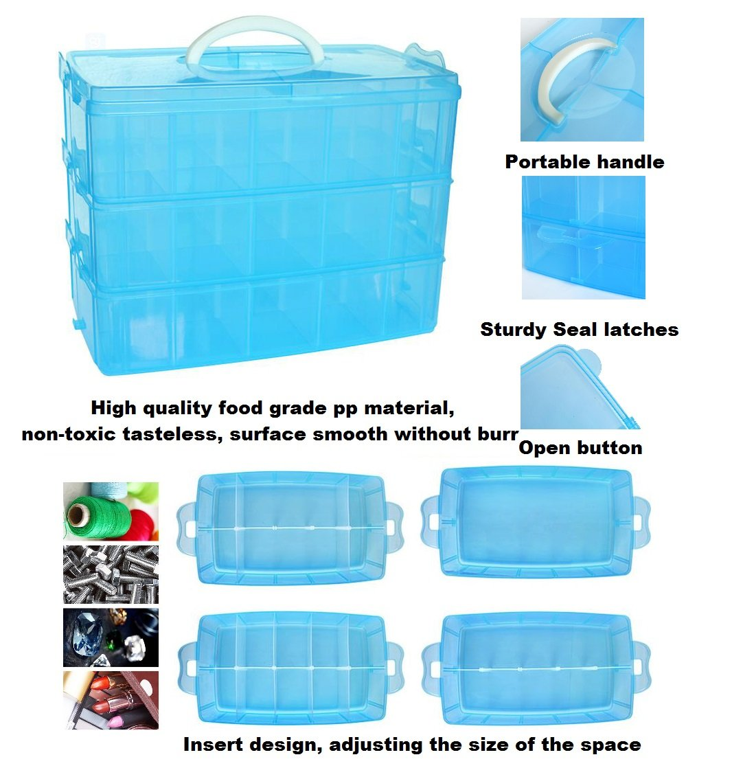 Kamay's Adjustable XL15 Compartment Slot Plastic Craft Storage Box Thick Hard Plastic Hobby Craft Storage Box Case With Snap Lock Ideal For Small Items Kamay's