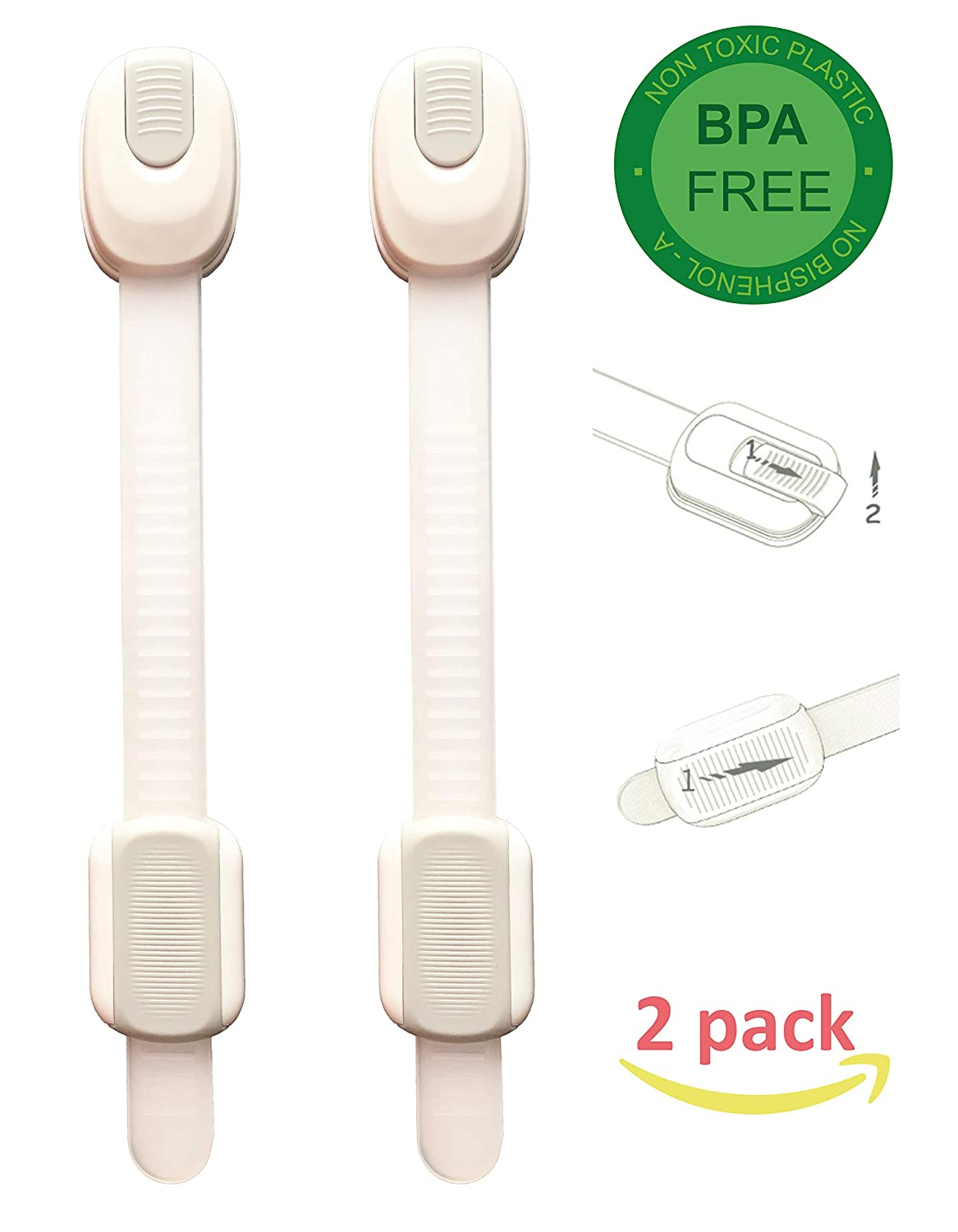 Adjustable Long Baby Safety Locks | Toddler, Kid, Child Safety Drawer Locks | Childproof Cabinet & Mini Fridge Lock | Toilet Locks for Toddlers|No Tools|Safety Strap and Latch System (2 Pack)