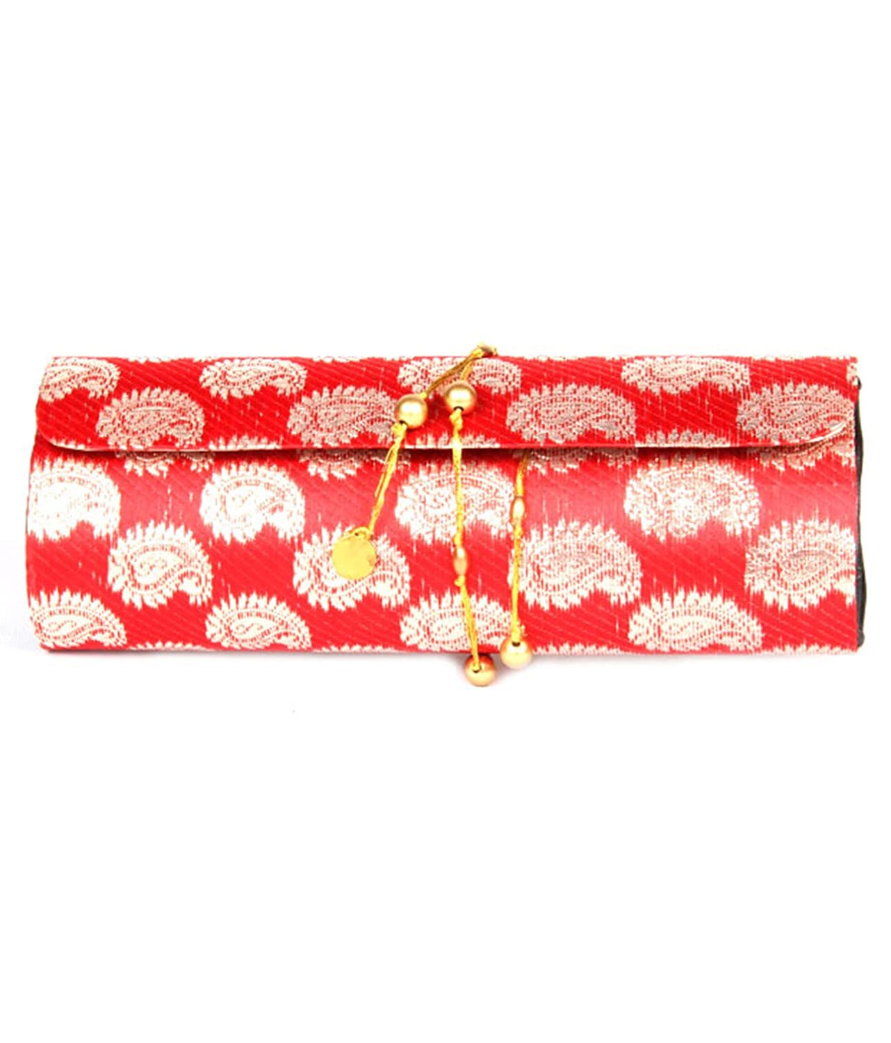 Favola dholak style silk brocade gold ambi with red base design clutch bag