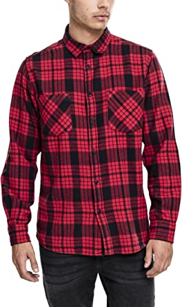 Urban Classics Herren Langarmshirt Hemd Checked Flanell Shirt 2 Mehrfarbig  (Red/Blk) Small