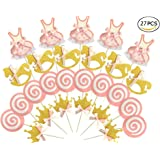 27-pac Pink and Gold Girl Baby Shower Cupcake Toppers Picks, Glitter Crown Dress Trojan Lollipop Cake Toppers, Girls Birthday Party Favor Decoration Kit