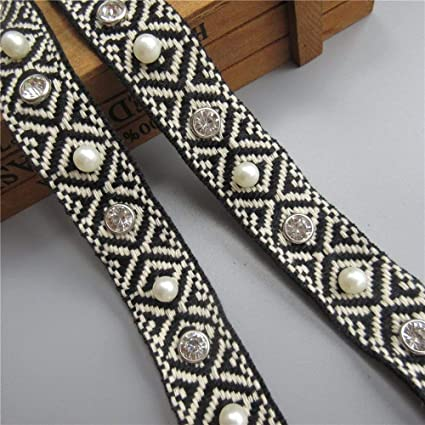 2.5 cm Vintage Embroidered Pearl Lace  Wedding Ribbon Applique DIY Sewing