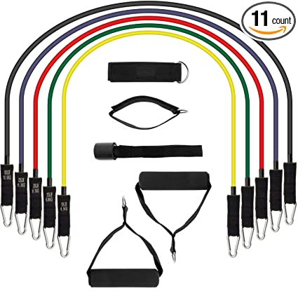 11pcs Elastic Resistance Bands, Vjoy Fitness Resistance Tubes with Handles,  Door Anchors, Ankle Straps, 5X Heavy Duty Bands for Gym Home Workout