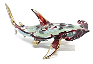 NaCraftTH Hammerhead Shark Glass Figure Ocean Sea Life Murano Glass Blowing Artwork Handicraft Figurines Fish Tank Ornament Aquarium Decorations