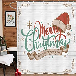 MERCHR Rustic Merry Christmas Shower Curtain, Vintage Christmas Hat Decor Shower Curtains, Farmhouse Snowflake Fabric Shower Curtain for Bathroom with Hooks 69x70inch