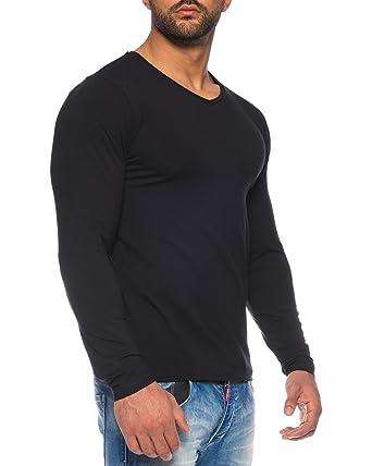 Benk Herren V-Neck Pullover Feinstrick Sweater Longsleeve Langarm Shirt  Cardigan (Schwarz, S e7f3e68eb2