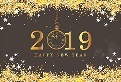 laeacco happy new year 2019 backdrop vinyl 7x5ft golden glitter sequins stars edge 2019 pocket watch