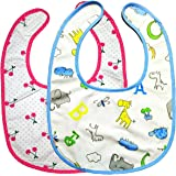 LittleForBig ABDL Adult Sized Bib Two Pack - Giraffe and Zoo Animals Pattern & Cherry Pattern