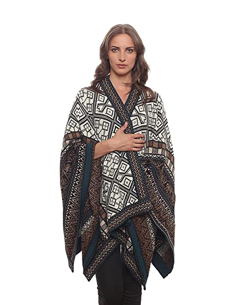 Invisible World Women's Poncho Alpaca Wool 100% Ruana Cape Winter