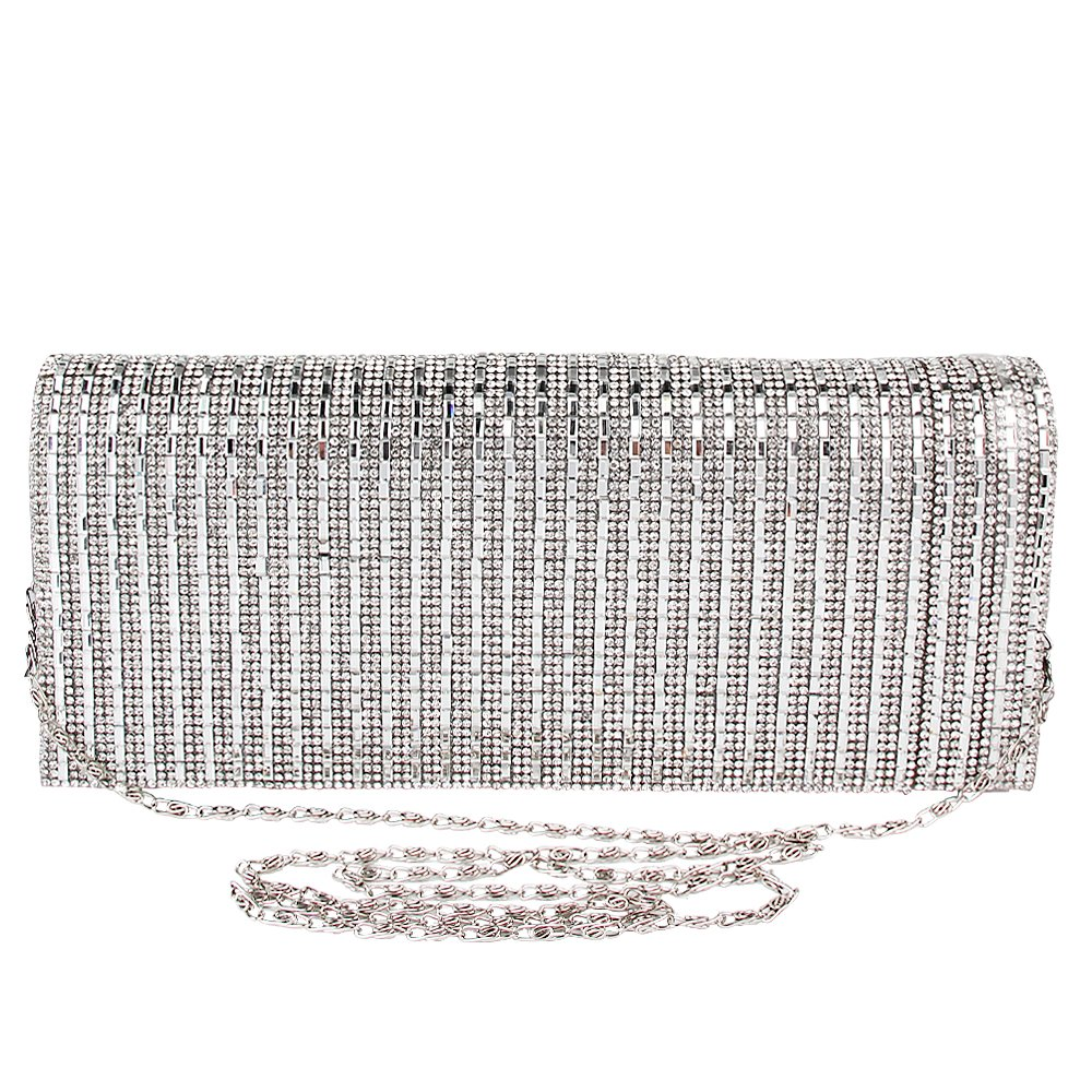TOPCHANCES Women's Evening Clutch Bag Triangle Full Rhinestones Party Prom Wedding Purse Carrying (Sliver) L-300-10072