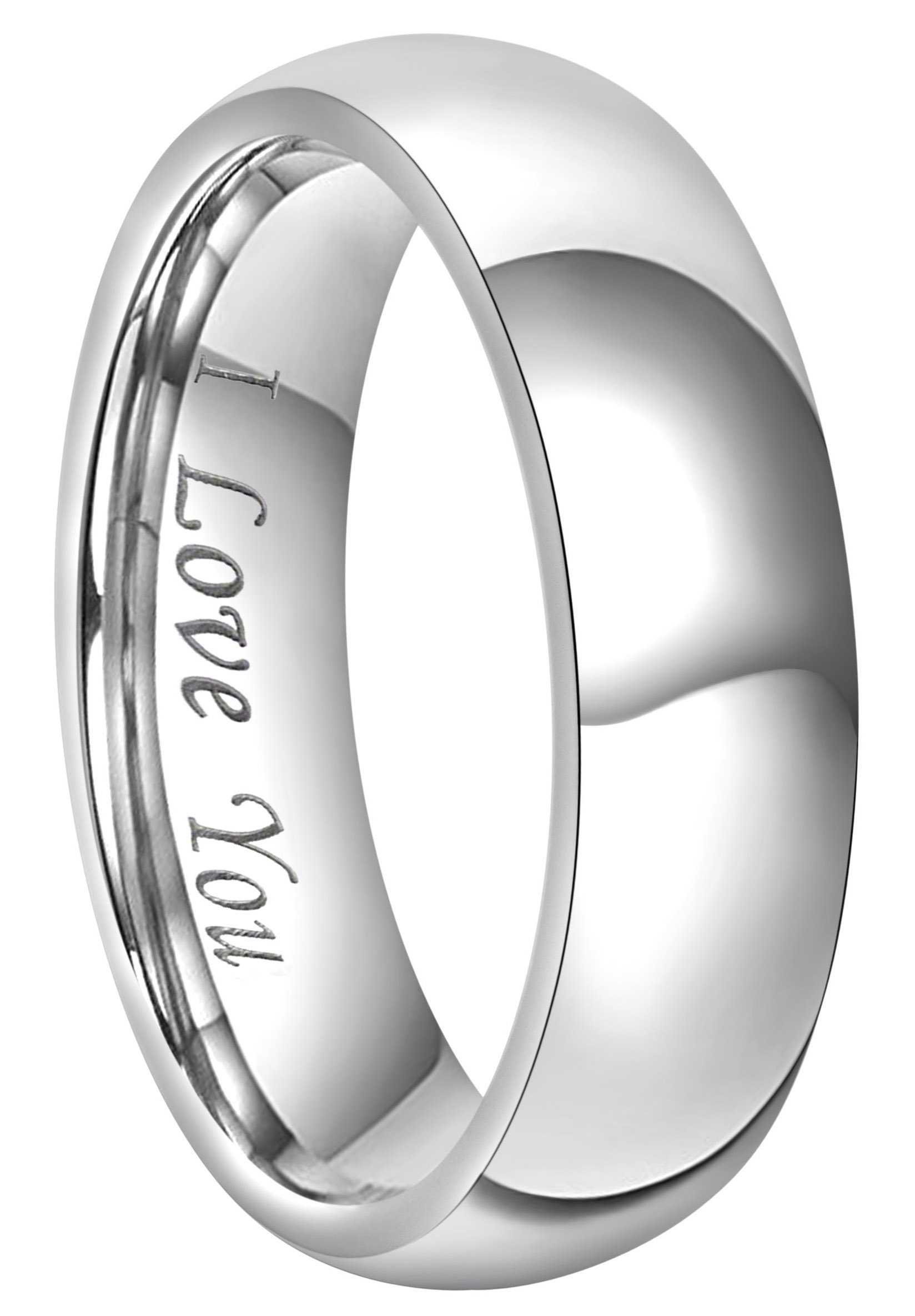 CROWNAL 4mm 6mm 8mm Titanium Couple Wedding Bands Rings Men Women Dome Polished Engraved I Love You Comfort Fit Size 4 To 16 (6mm,8)
