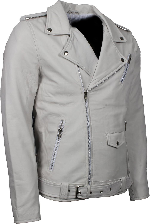 Men Biker Style Luxury Soft Genuine Leather White Racer Jacket