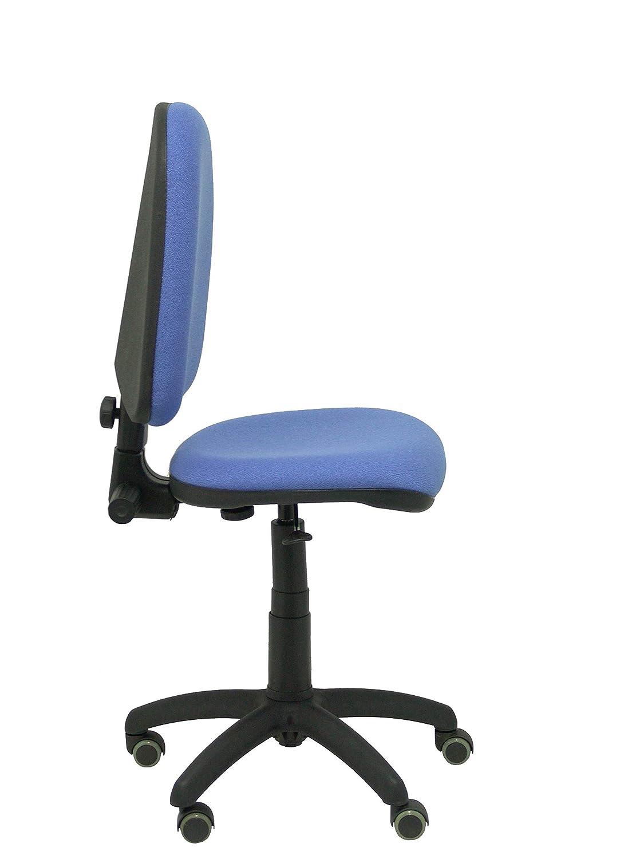 PIQUERAS Y CRESPO modell 04CP ergonomisk kontorsstol med permanent kontaktmekanik, justerbar höjd och hjul parkettsäte och rygg vadderad i tyg bali blå Ljusblå