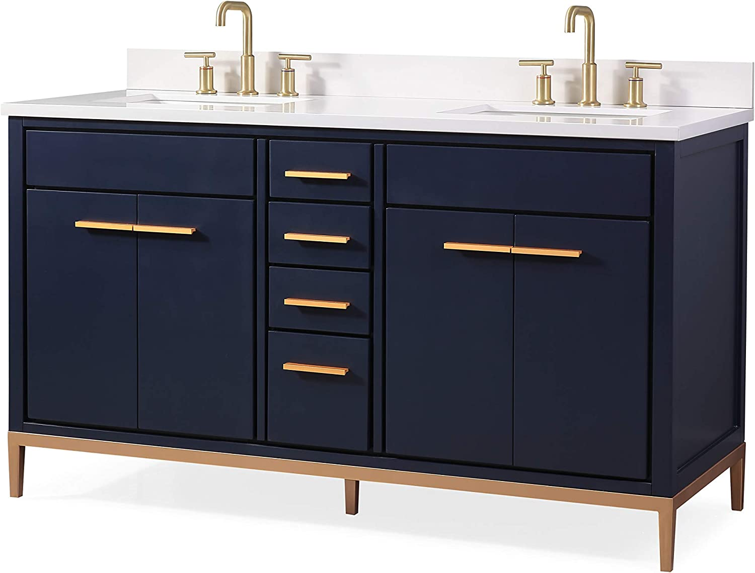 Amazon Com 60 Beatrice Navy Blue Double Sink Modern Bathroom Vanity Tb 9838 D60nb Kitchen Dining