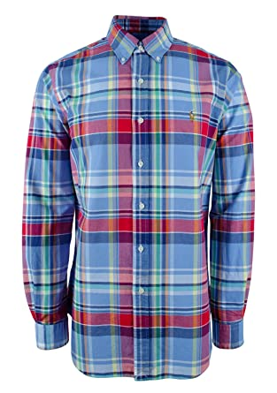 7082df45 Polo Ralph Lauren Men's Plaid Oxford Long Sleeve Classic Fit Shirt ...