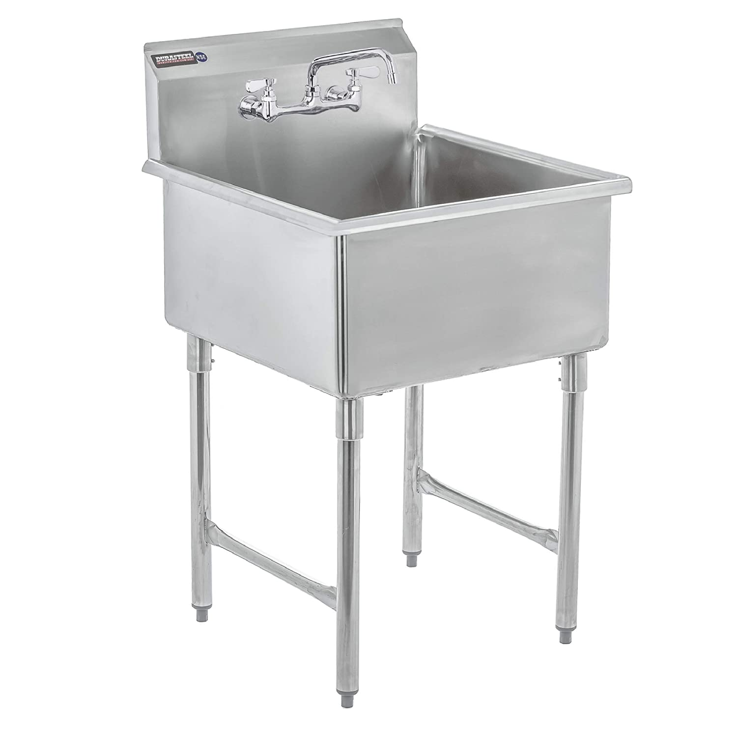 "DuraSteel Utility & Prep Sink - 1 Compartment Stainless Steel NSF Certified Easily Install - 24"" X 24"" Tub Size with 10"" Swivel Spout No Lead Faucet (Commercial, Food, Kitchen, Laundry, Backyard)"