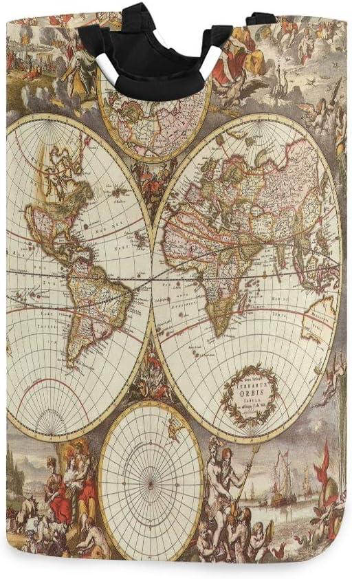 LIFE - Cesta para la colada con asas, diseño de mapamundi y mapa del mundo, plegable, para guardar ropa sucia y juguetes