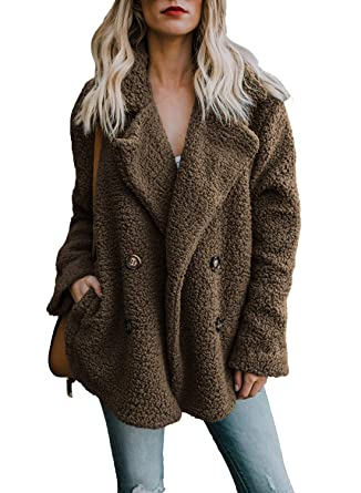 55e506aabeb Minetom® Womens Ladies Oversized Coat Long Sleeve Plush Sherpa Jacket Parka  Cardigan Winter Warm Fleece Fluffy Tops Outerwear Overcoat Plus Size Coffee  UK ...