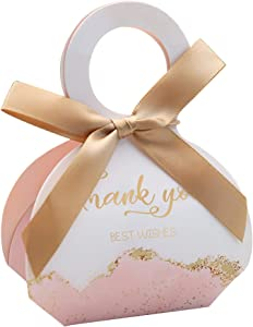 Doris Home 50 pcs Birthday Wedding Party Favor Boxes,Pink 2.5 * 1.37 * 3 inch Wedding Gift Bags Chocolate Candy and Gift Boxes Bridal Shower Party Paper Gift Boxes with Ribbons