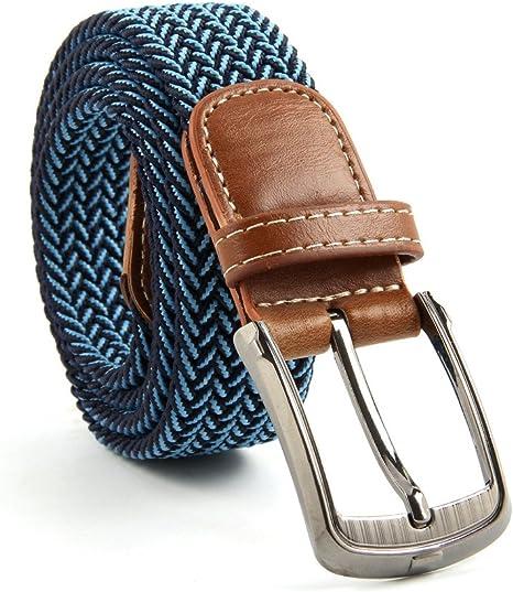 BL177 Stretchy Belts Mens Two Tone Weave Belt